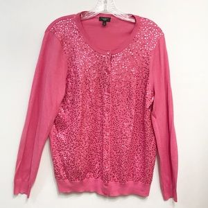 Talbots • Women's Full Button Front Sequin Sweater